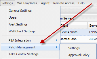 GFI Max Patch Management Settings Screenshot